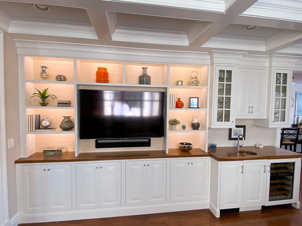 Custom-designed entertainment shelves
